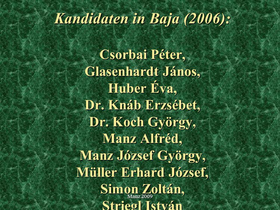 Kandidaten in Baja (2006): Csorbai Péter, Glasenhardt János, Huber Éva, Dr. Knáb Erzsébet, Dr. Koch György, Manz Alfréd, Manz József György, Müller Erhard József, Simon Zoltán, Striegl István