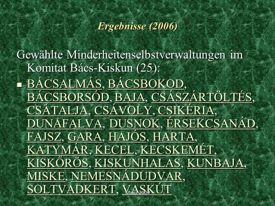 Gewählte Minderheitenselbstverwaltungen im Komitat Bács-Kiskun (25):