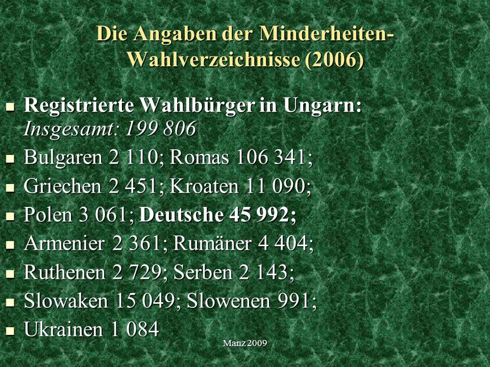 Die Angaben der Minderheiten-Wahlverzeichnisse (2006)