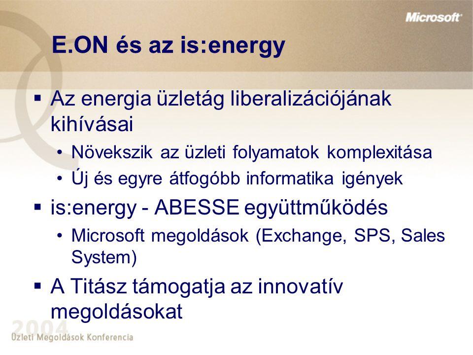 E.ON és az is:energy Az energia üzletág liberalizációjának kihívásai