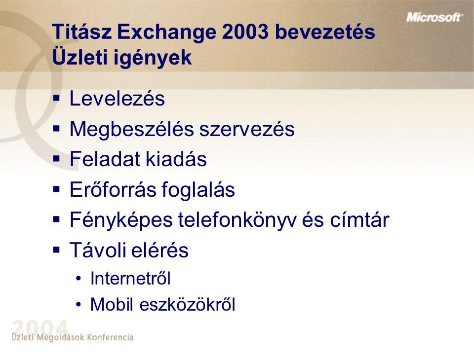 Titász Exchange 2003 bevezetés Üzleti igények