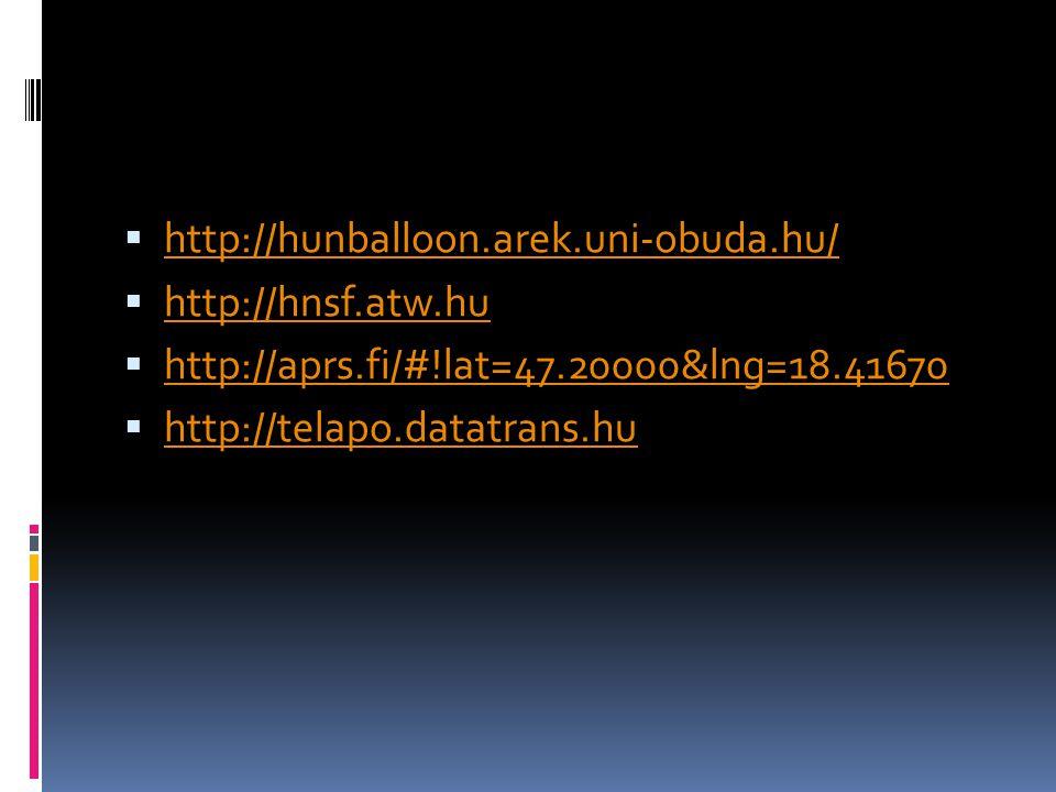 http://hunballoon.arek.uni-obuda.hu/ http://hnsf.atw.hu. http://aprs.fi/#!lat=47.20000&lng=18.41670.