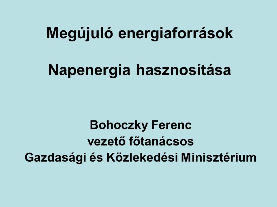 Megújuló energiaforrások Napenergia hasznosítása