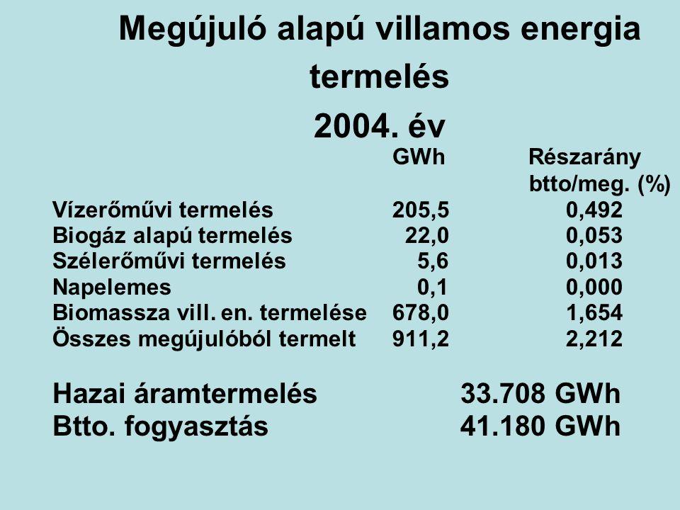 Megújuló alapú villamos energia termelés 2004. év