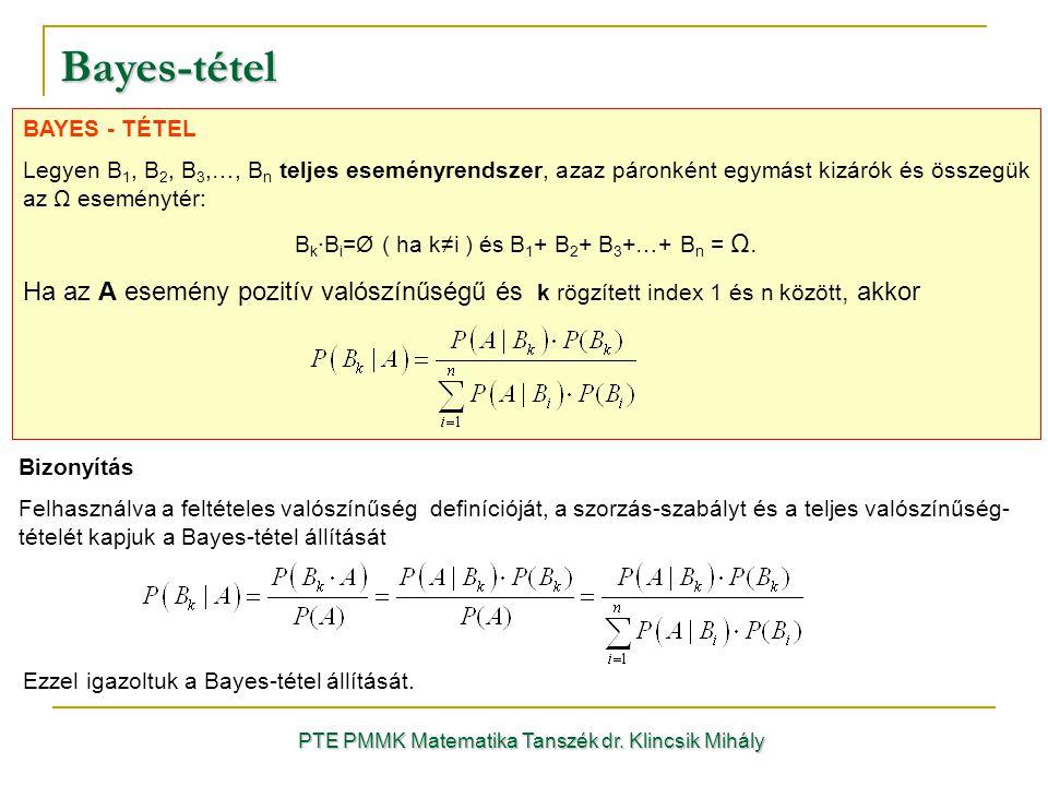 Bayes-tétel BAYES - TÉTEL. Legyen B1, B2, B3,…, Bn teljes eseményrendszer, azaz páronként egymást kizárók és összegük az Ω eseménytér: