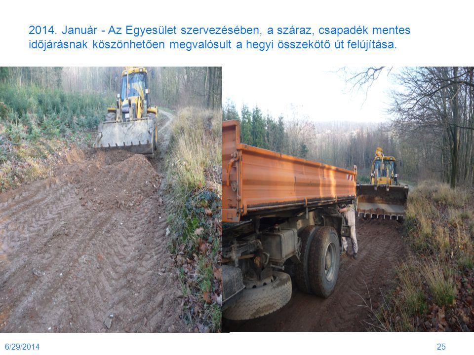 2014. Január - Az Egyesület szervezésében, a száraz, csapadék mentes időjárásnak köszönhetően megvalósult a hegyi összekötő út felújítása.
