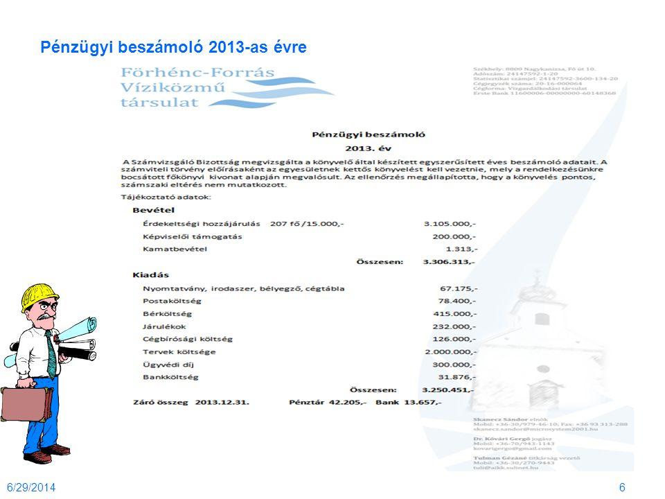 Pénzügyi beszámoló 2013-as évre