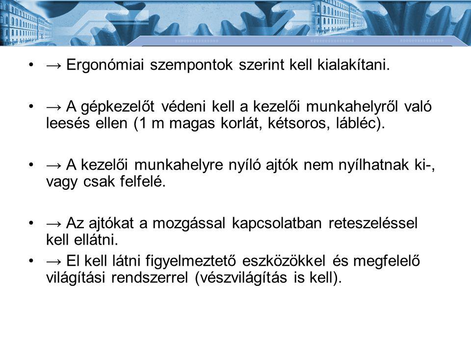 → Ergonómiai szempontok szerint kell kialakítani.