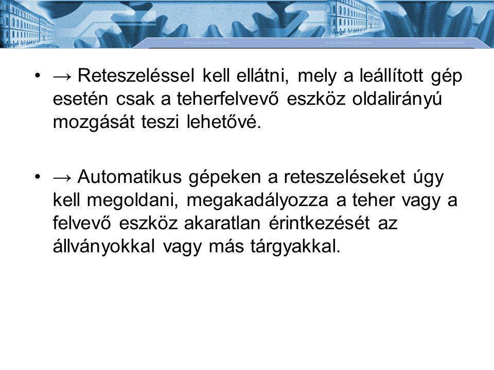 → Reteszeléssel kell ellátni, mely a leállított gép esetén csak a teherfelvevő eszköz oldalirányú mozgását teszi lehetővé.