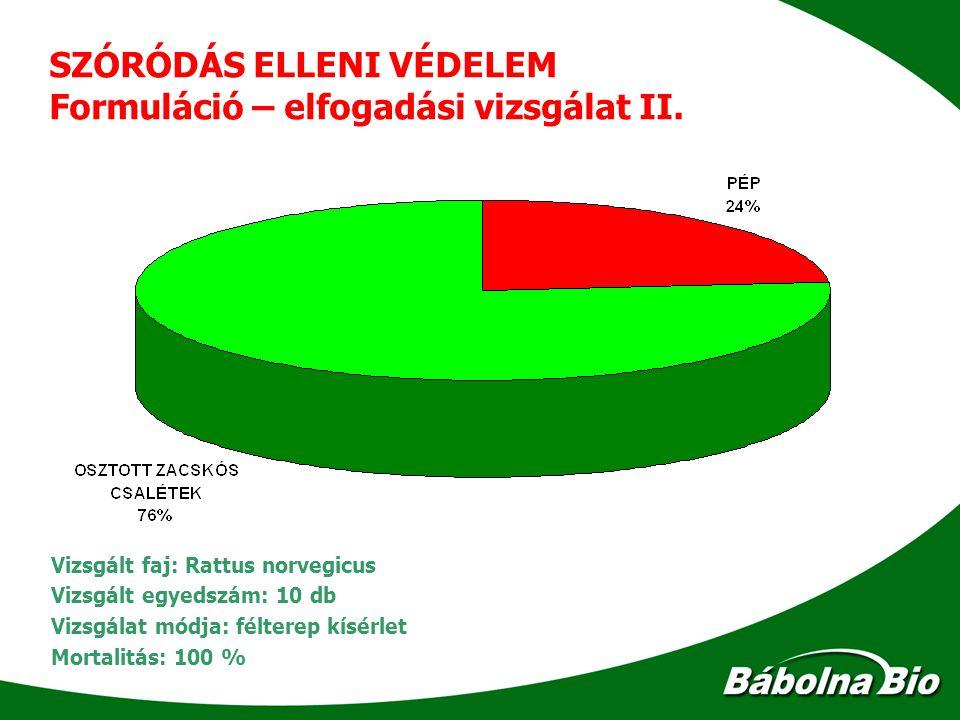 SZÓRÓDÁS ELLENI VÉDELEM Formuláció – elfogadási vizsgálat II.