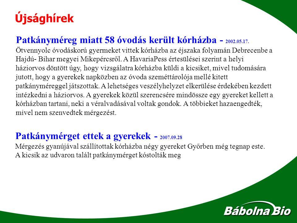 Újsághírek Patkányméreg miatt 58 óvodás került kórházba - 2002.05.17.