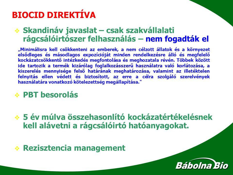 BIOCID DIREKTÍVA Skandináv javaslat – csak szakvállalati rágcsálóirtószer felhasználás – nem fogadták el.