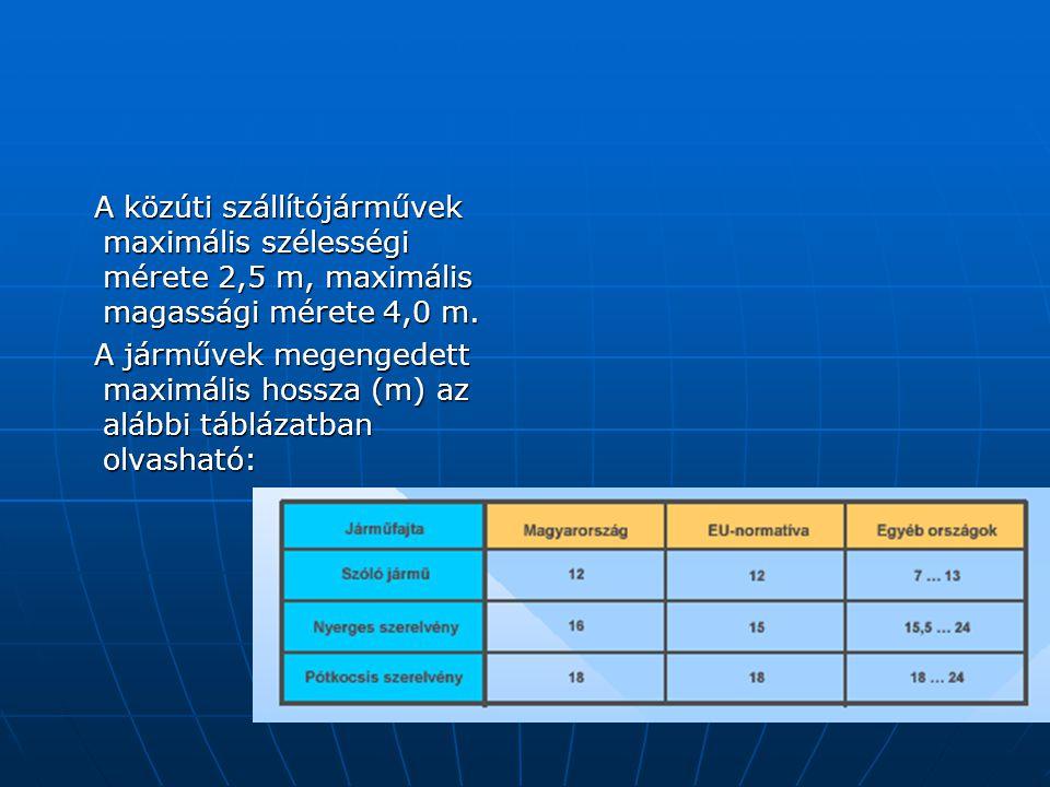 A közúti szállítójárművek maximális szélességi mérete 2,5 m, maximális magassági mérete 4,0 m.