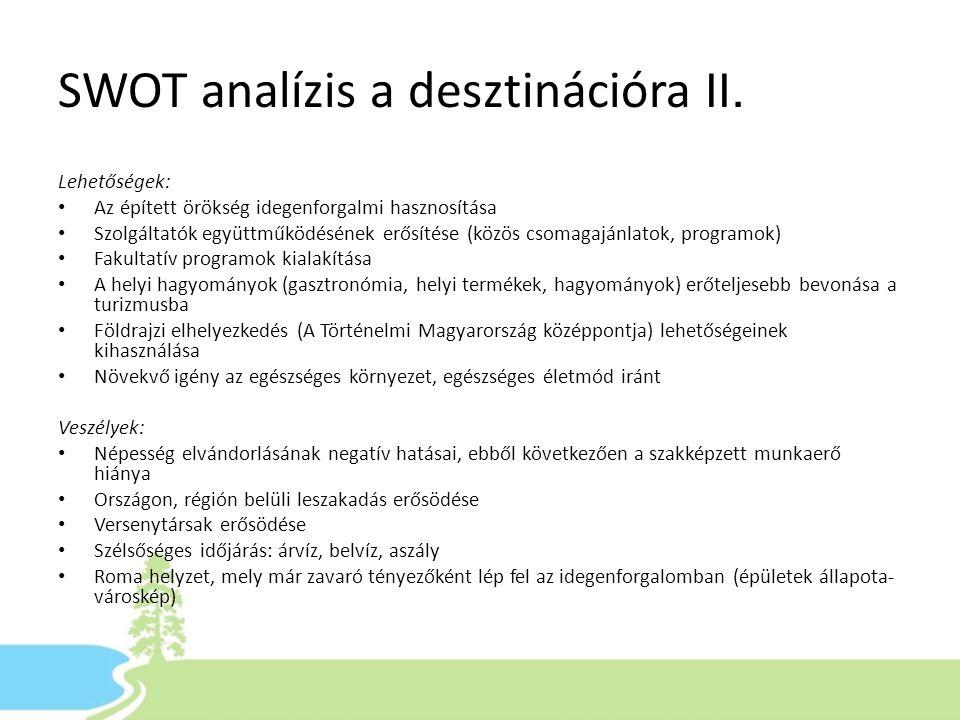 SWOT analízis a desztinációra II.