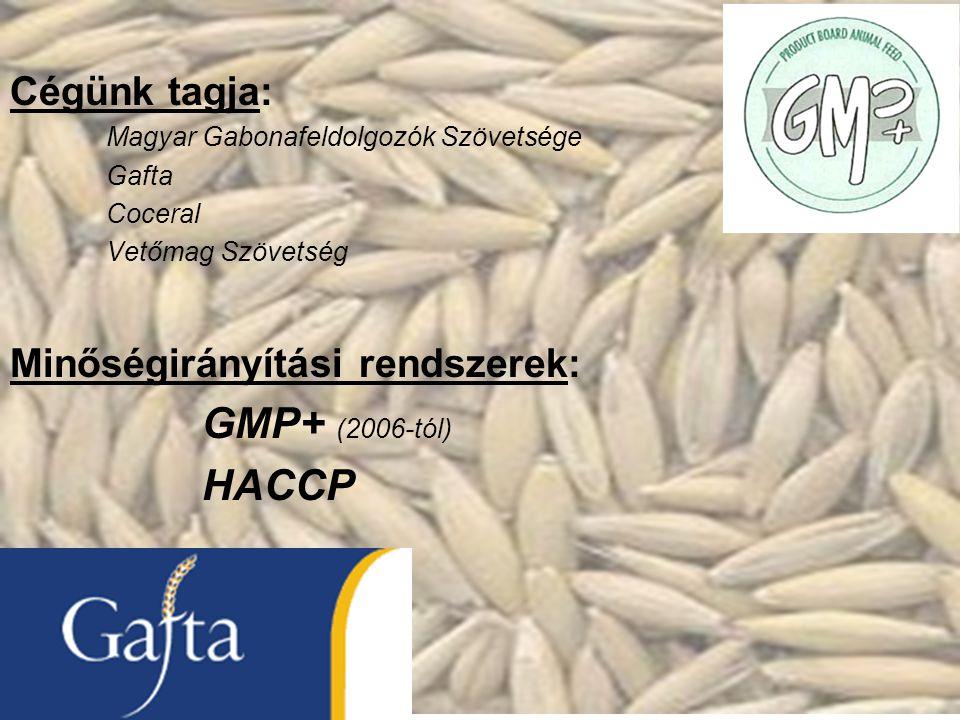 GMP+ (2006-tól) HACCP Cégünk tagja: Minőségirányítási rendszerek: