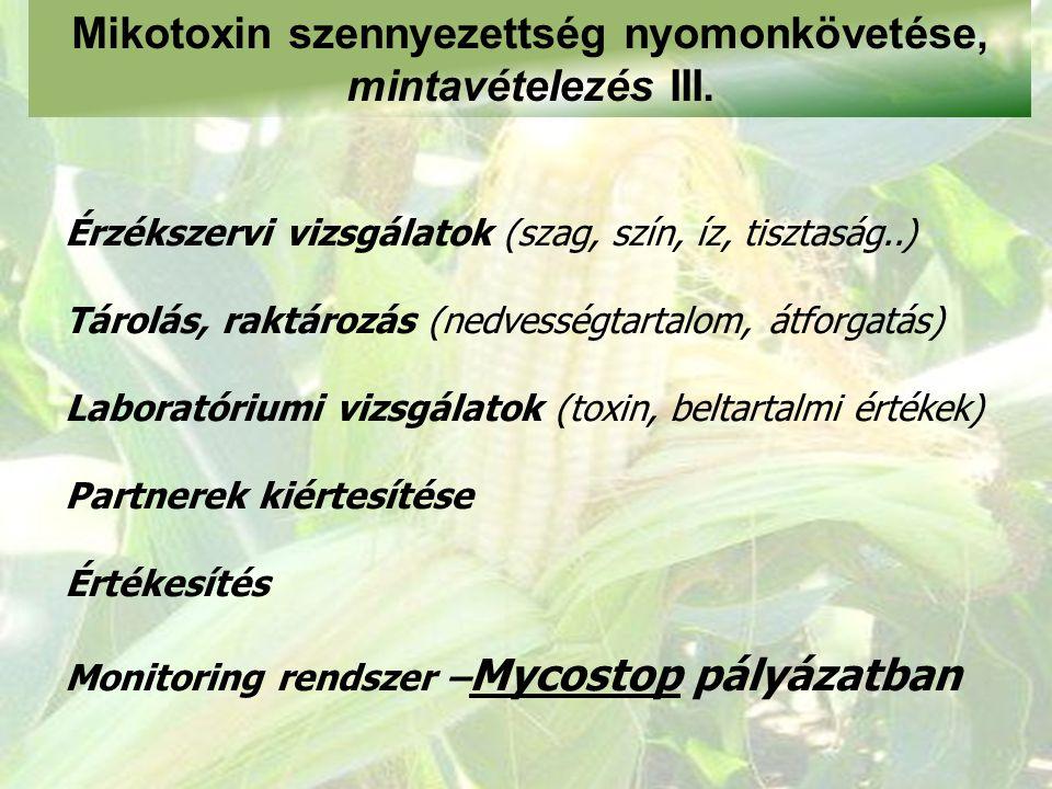 Mikotoxin szennyezettség nyomonkövetése, mintavételezés III.