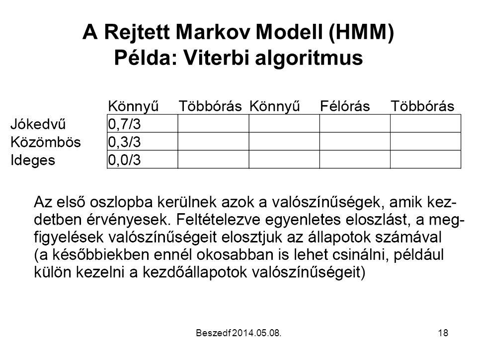 A Rejtett Markov Modell (HMM) Példa: Viterbi algoritmus