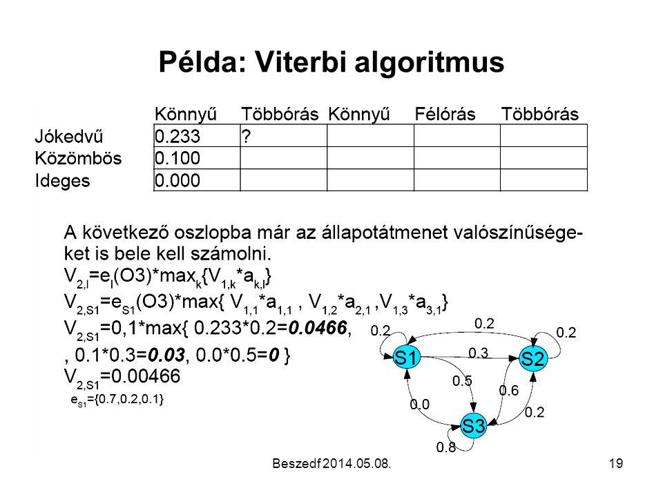 Példa: Viterbi algoritmus