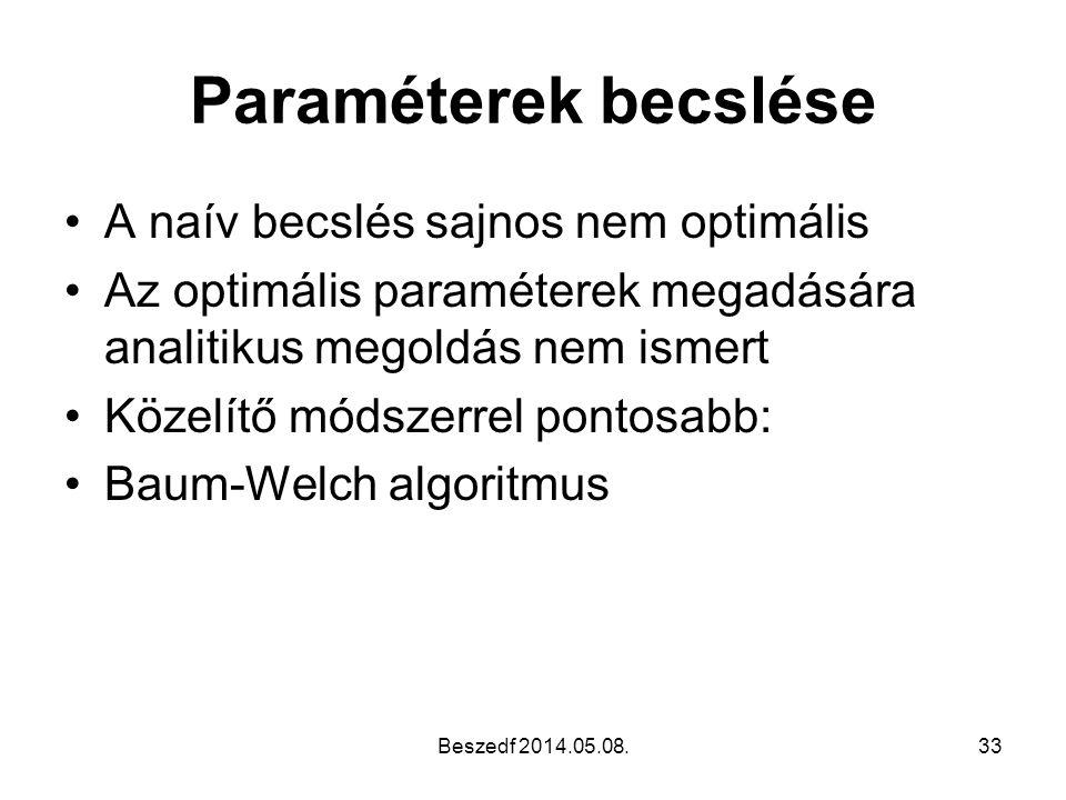 Paraméterek becslése A naív becslés sajnos nem optimális