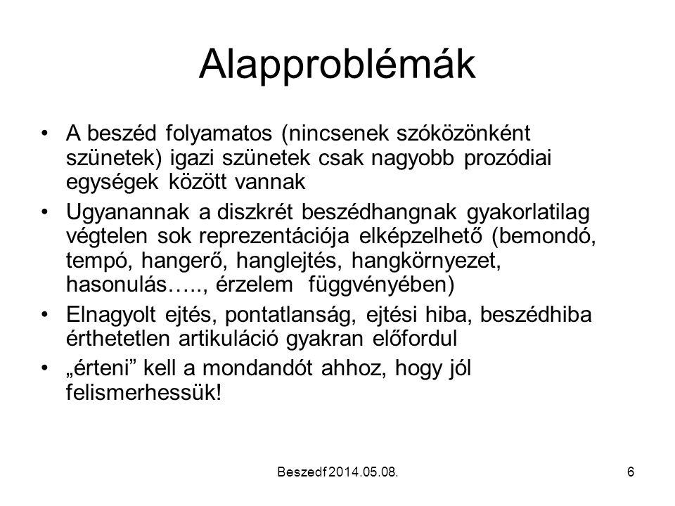 Alapproblémák A beszéd folyamatos (nincsenek szóközönként szünetek) igazi szünetek csak nagyobb prozódiai egységek között vannak.