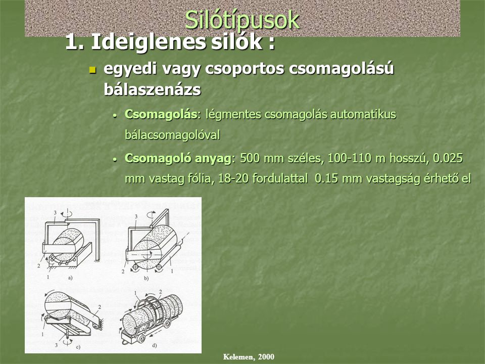 Silótípusok 1. Ideiglenes silók :