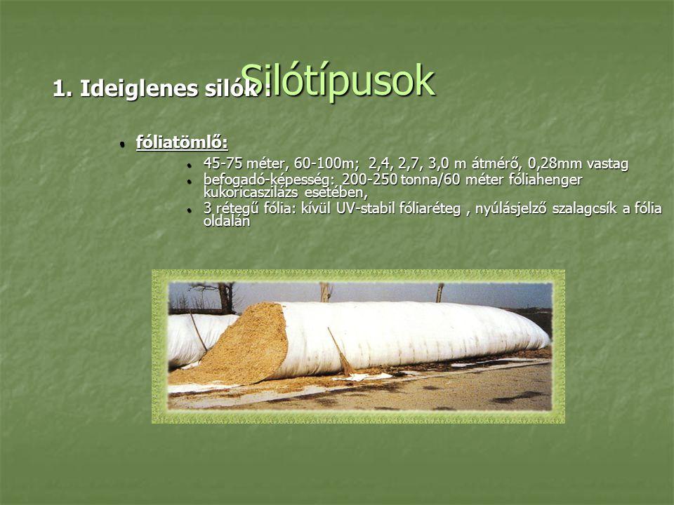 Silótípusok 1. Ideiglenes silók : fóliatömlő: