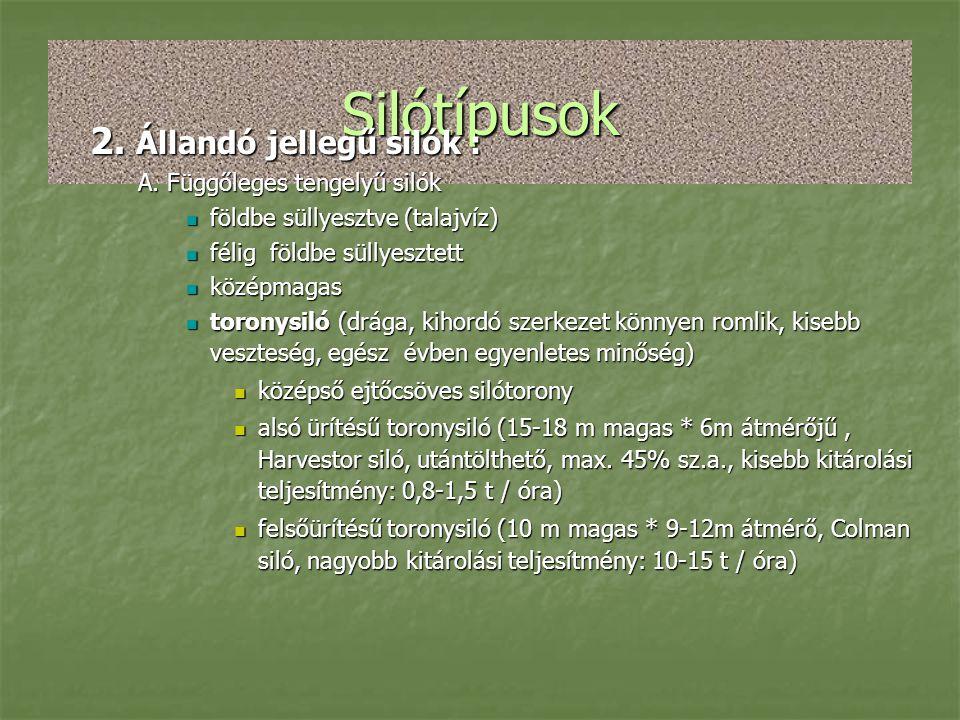 Silótípusok 2. Állandó jellegű silók : A. Függőleges tengelyű silók