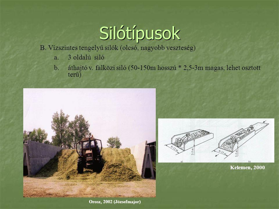 Silótípusok B. Vízszintes tengelyű silók (olcsó, nagyobb veszteség)