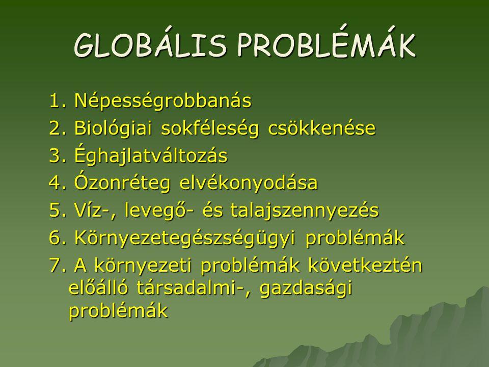 GLOBÁLIS PROBLÉMÁK 1. Népességrobbanás