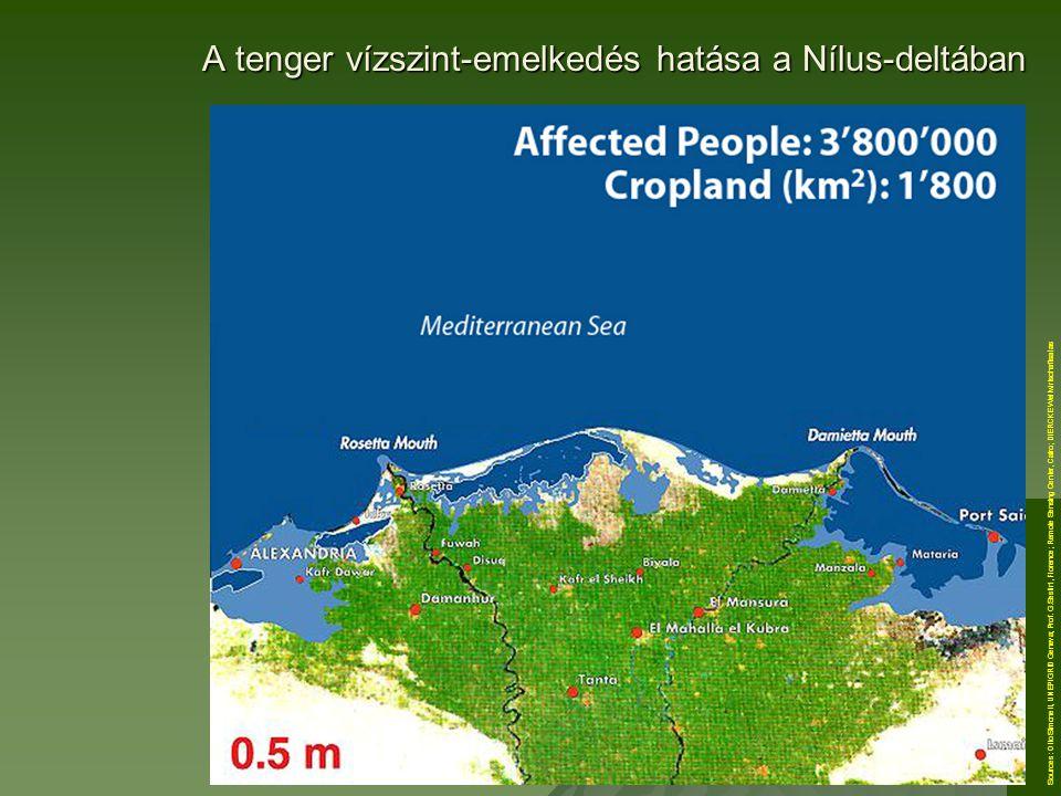 A tenger vízszint-emelkedés hatása a Nílus-deltában