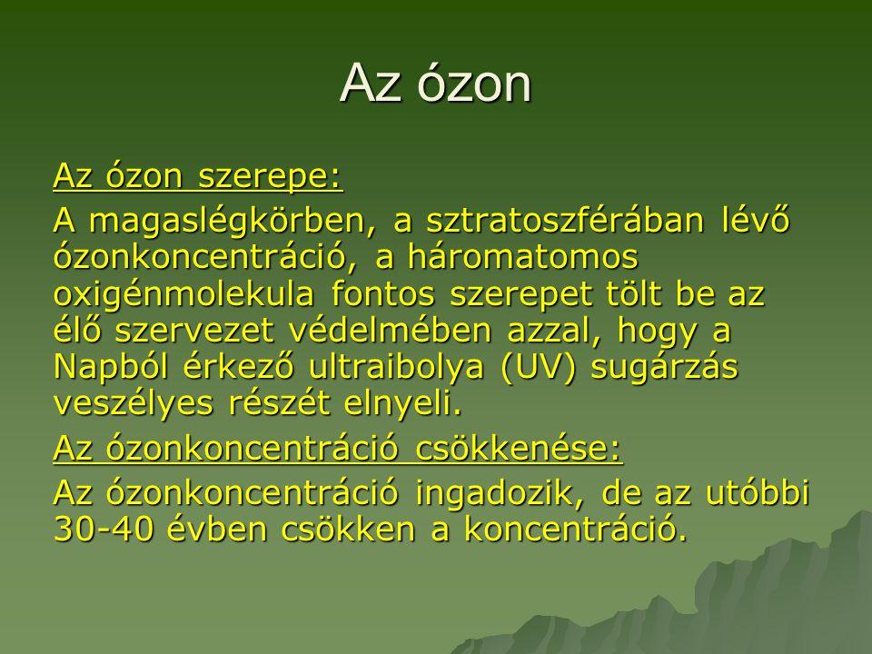 Az ózon Az ózon szerepe: