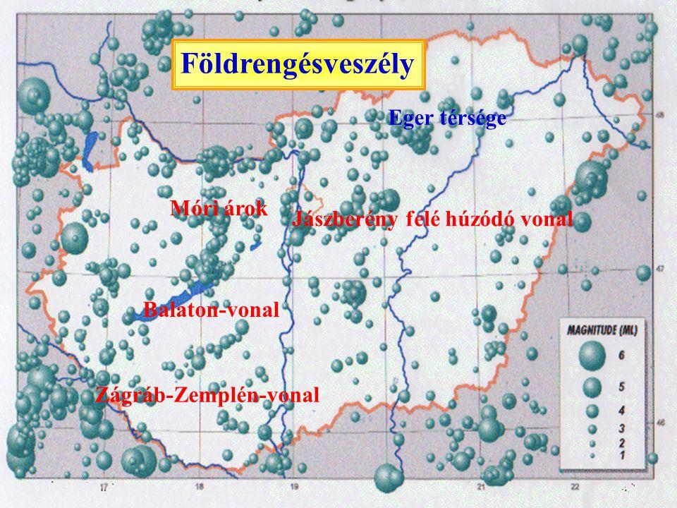 Földrengésveszély Eger térsége Móri árok Jászberény felé húzódó vonal