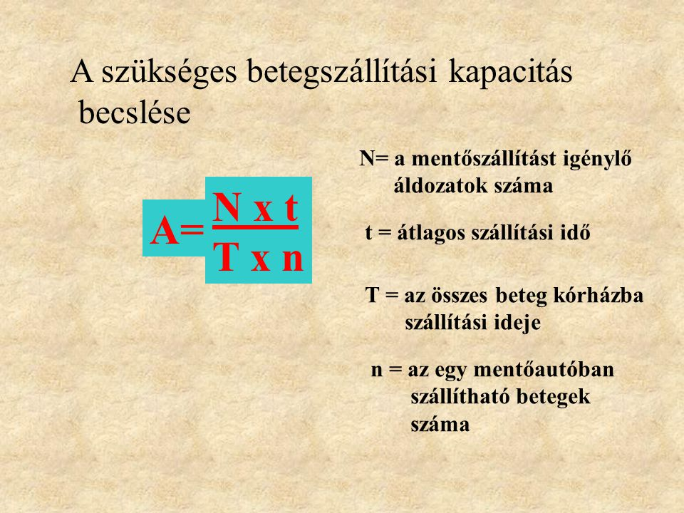 N x t A= T x n A szükséges betegszállítási kapacitás becslése