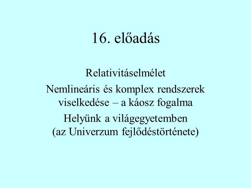 16. előadás Relativitáselmélet