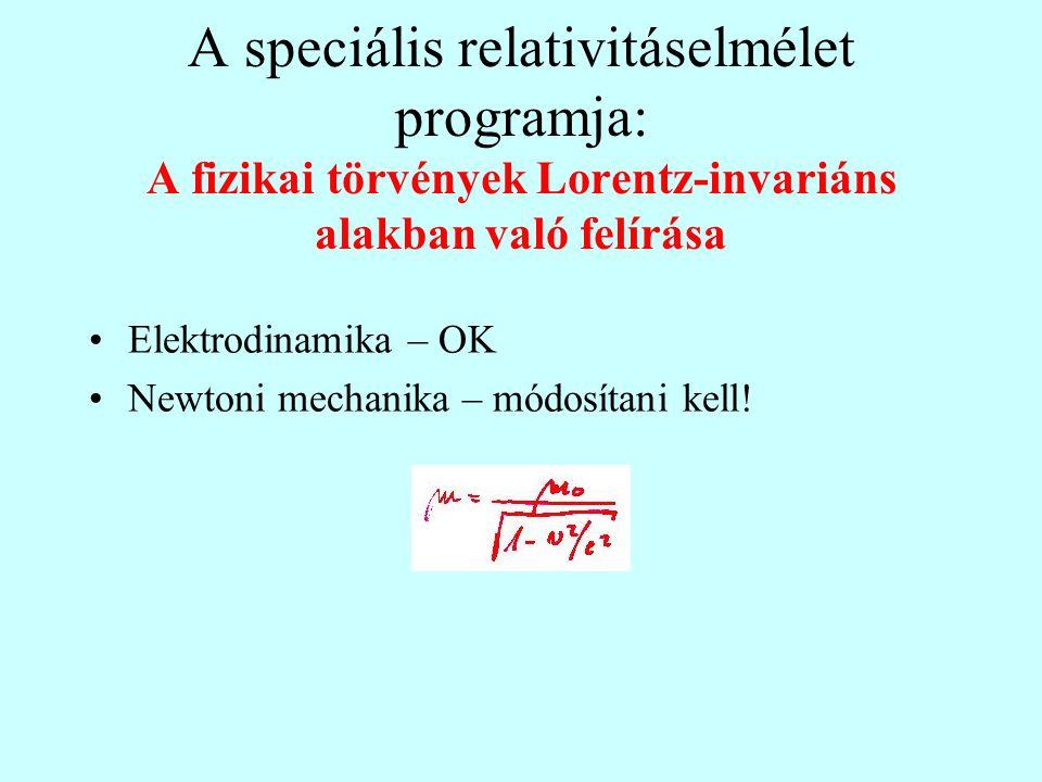 A speciális relativitáselmélet programja: A fizikai törvények Lorentz-invariáns alakban való felírása