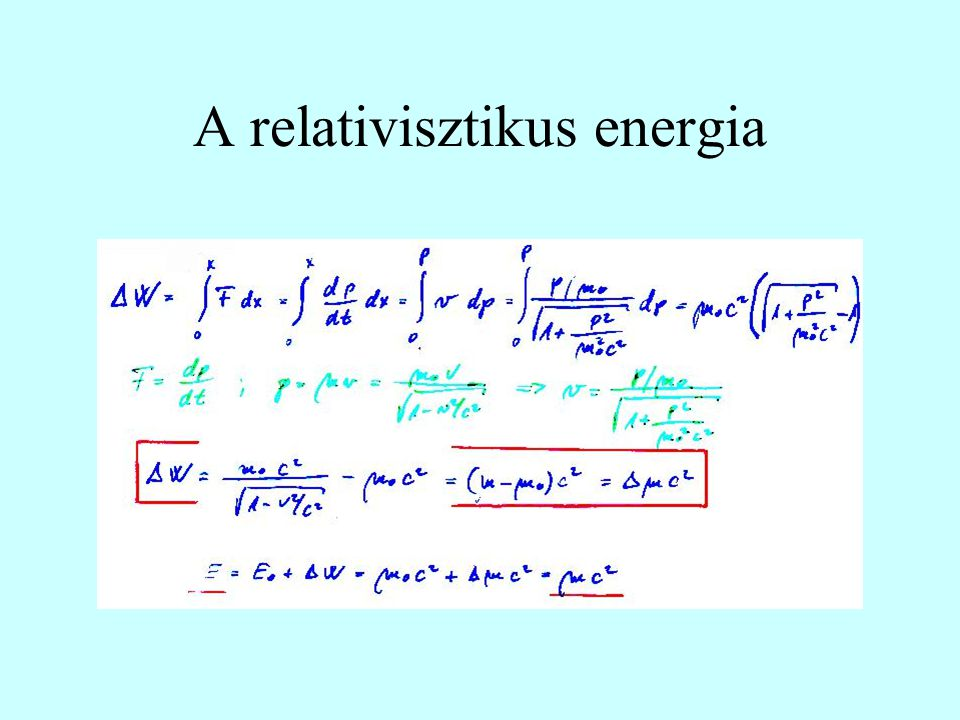 A relativisztikus energia