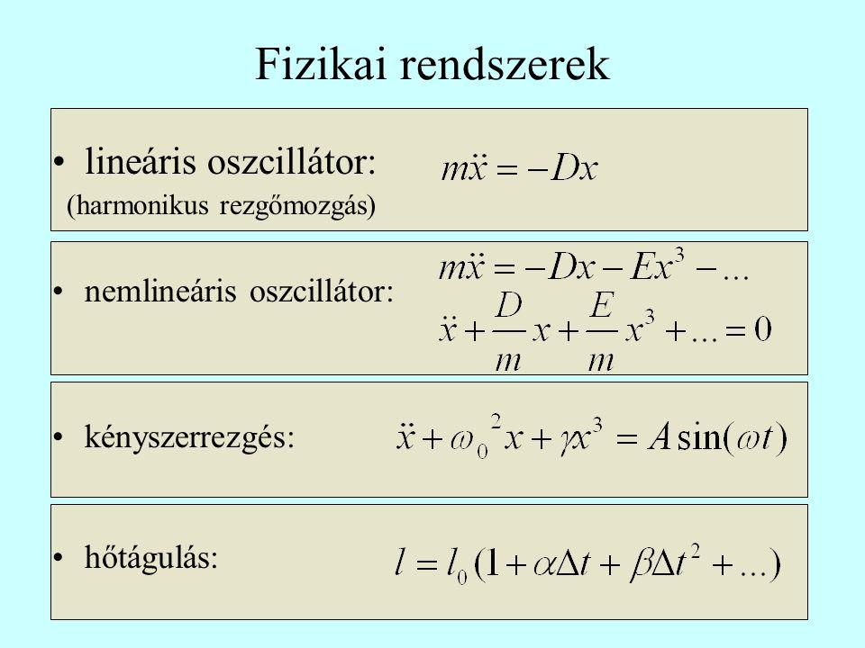 Fizikai rendszerek lineáris oszcillátor: nemlineáris oszcillátor: