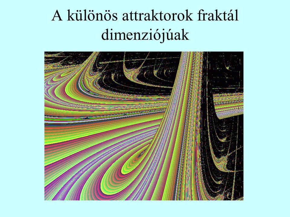 A különös attraktorok fraktál dimenziójúak