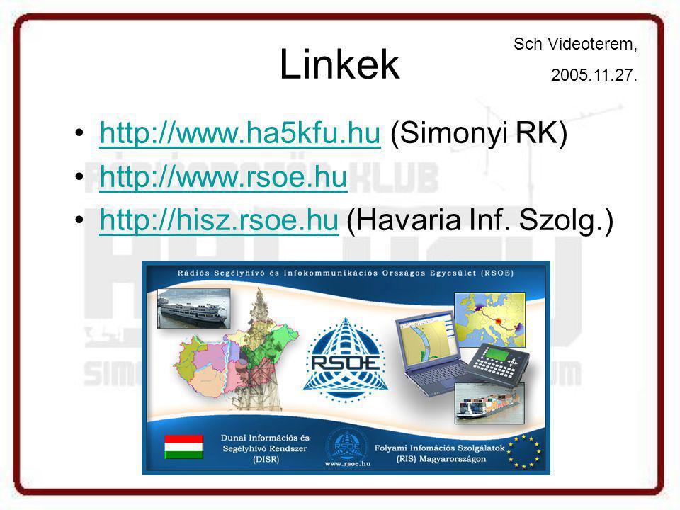 Linkek http://www.ha5kfu.hu (Simonyi RK) http://www.rsoe.hu