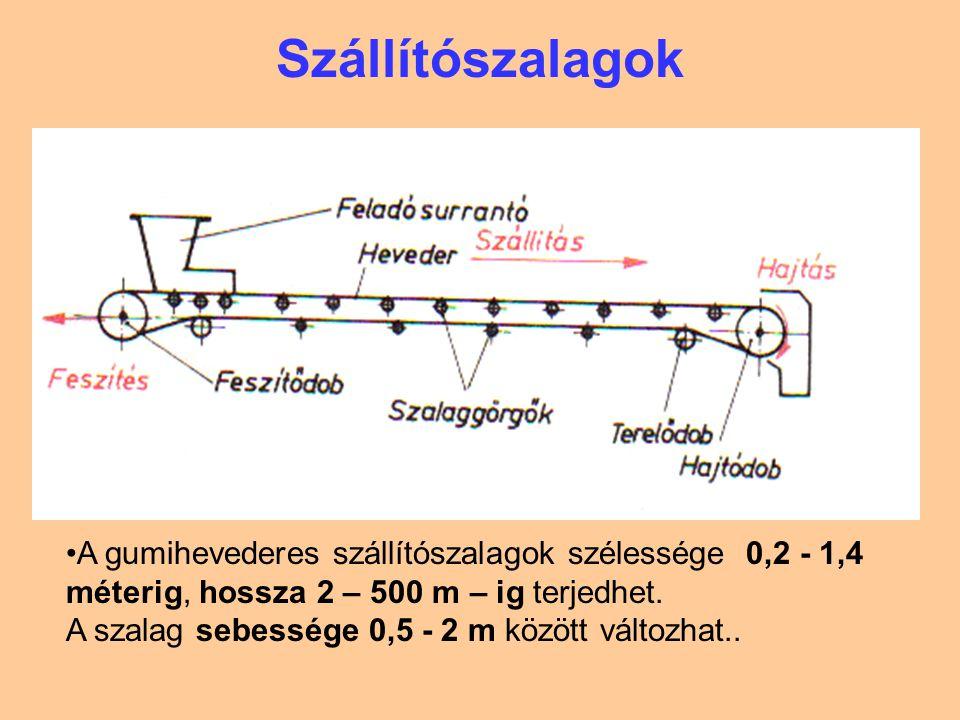 Szállítószalagok A gumihevederes szállítószalagok szélessége 0,2 - 1,4 méterig, hossza 2 – 500 m – ig terjedhet.
