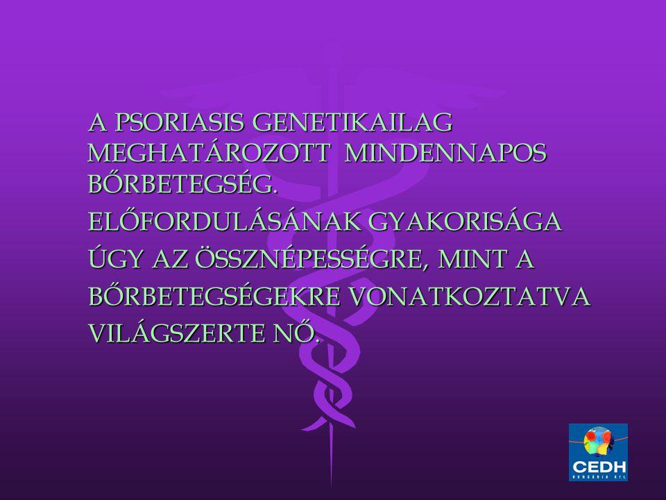A PSORIASIS GENETIKAILAG MEGHATÁROZOTT MINDENNAPOS BŐRBETEGSÉG.