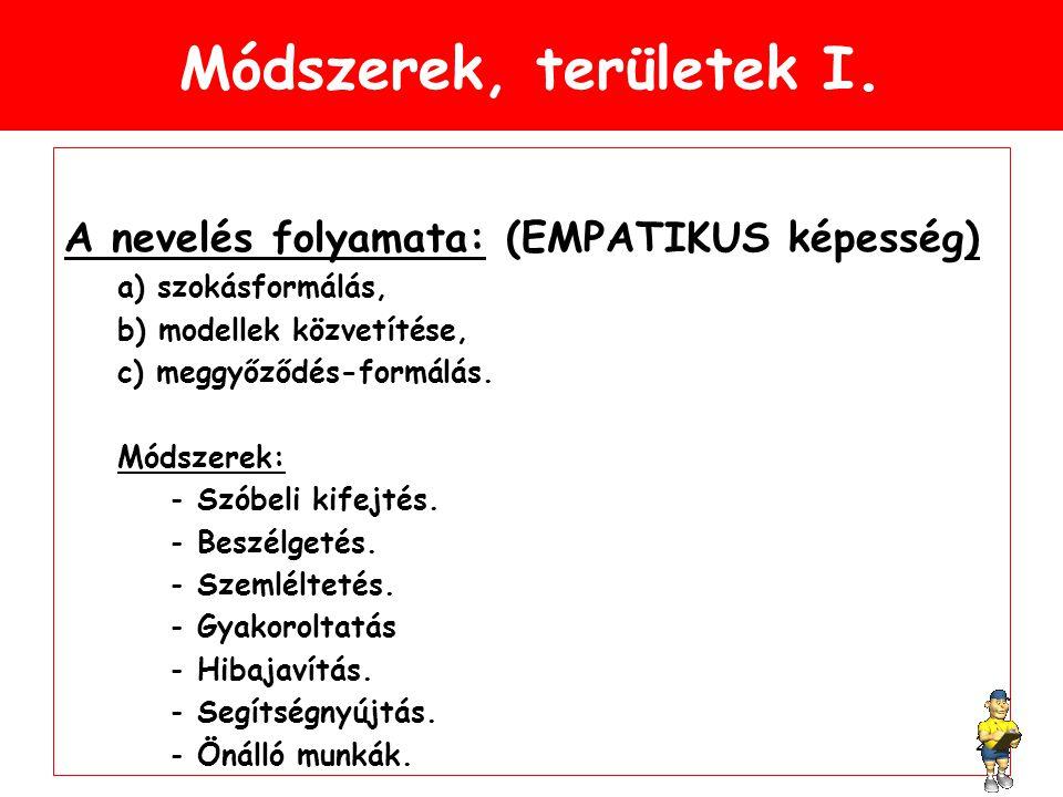 Módszerek, területek I. A nevelés folyamata: (EMPATIKUS képesség)
