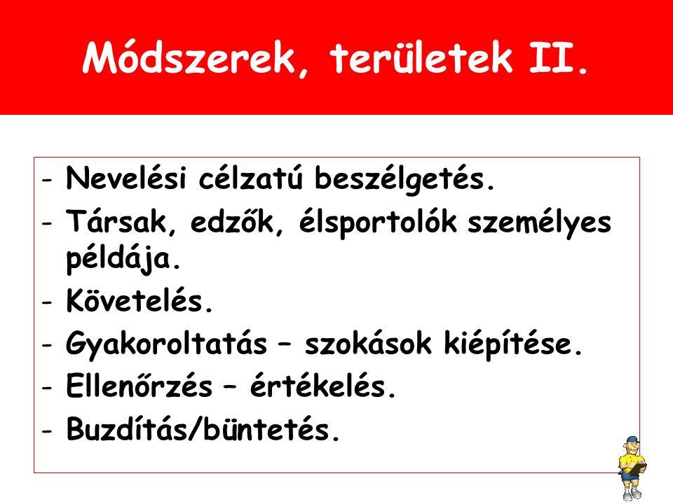 Módszerek, területek II.