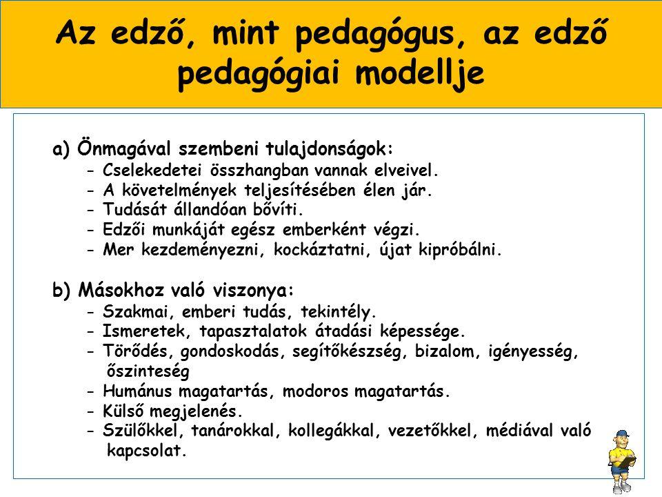 Az edző, mint pedagógus, az edző pedagógiai modellje