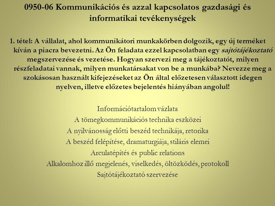 0950-06 Kommunikációs és azzal kapcsolatos gazdasági és informatikai tevékenységek
