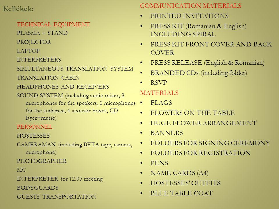 Kellékek: COMMUNICATION MATERIALS PRINTED INVITATIONS