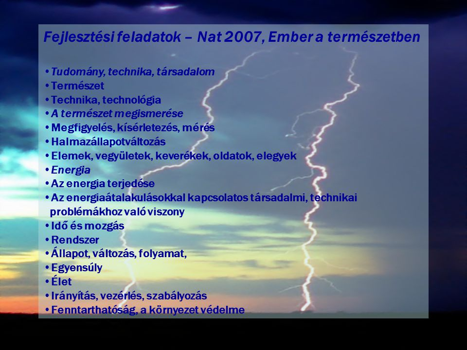 Fejlesztési feladatok – Nat 2007, Ember a természetben