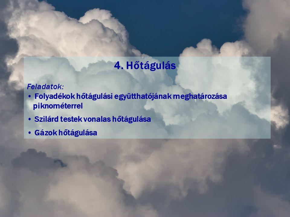 4. Hőtágulás Feladatok: Folyadékok hőtágulási együtthatójának meghatározása. piknométerrel. Szilárd testek vonalas hőtágulása.