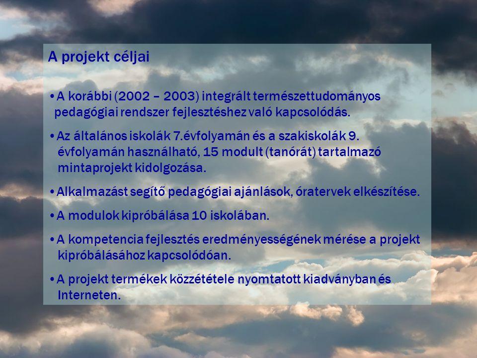 A projekt céljai A korábbi (2002 – 2003) integrált természettudományos