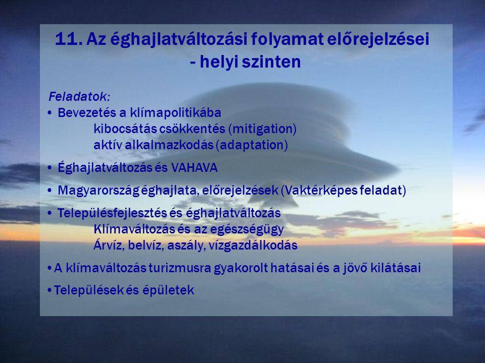 11. Az éghajlatváltozási folyamat előrejelzései - helyi szinten